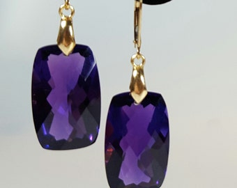 Handmade silver gold plated earrings with large checkered board cut Amethyst