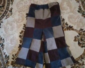 Hippie patchwork handmade toddler corduroy pants