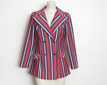 Women's MOD Blazer / Red, White and Blue Striped / Double Breasted / Vintage 60s - 70s Double Talk Jacket