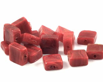♥X2 12mm♥ red square glass beads