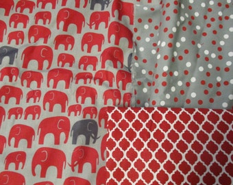 Seeing Red Elephants?  Red and Gray fabrics by Half-Yd