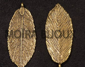 smooth 4 bronze leaf charms 48x24mm ovals