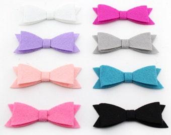 "Wholesale Bows, Felt Bows, Fabric Bow, Small 3"" Tuxedo Bows, baby headband bows, soft, DIY hair clip bow supplies, girls bows, no clips,"