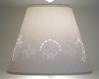 Lamp Shade-Seashells-Seashell Lampshade-Paper Lamp Shade-Cut & Pierced Lampshade-Punched Lampshade-Shade for Lamp-Sea Shells-Beach-Lighting