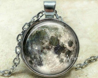 Moon pendant, full moon pendant, gray moon pendant, space pendant, moon necklace, moon jewelry, Pendant #SP120P
