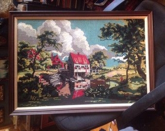 framed antique needlepoint vintage farmhouse