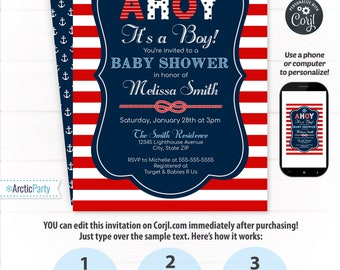 Nautical Baby Shower Invitations - Nautical Invitation - Nautical Shower -  Nautical Party - EDIT at home NOW  with Corjl