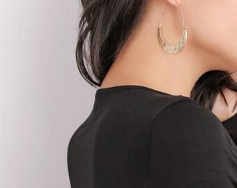 Dainty Gold Crescent Moon Hoop Earrings - Hoop Earrings - Artsy Earrings