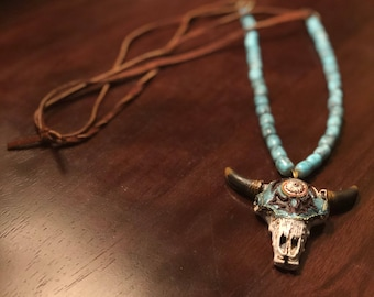 Cow Skull Pendant Necklace