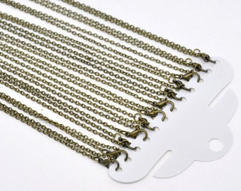12pcs 30 Inch Antique Bronze Necklace Chain - Necklace Wholesale Lot Bulk Chain - 3mm x 2mm - Bulk Lot Wholesale Chain Findings