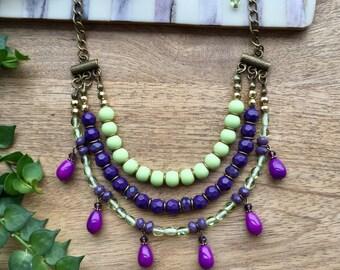 Layered Necklace Beaded Necklace Crystal Necklace Bohemian Necklace Colorful Necklace Multistrand Necklace Bib Necklace Boho Chic