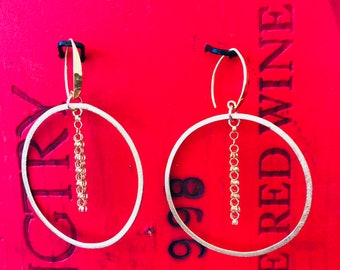 Vermeil Hoop with Dangle Earring