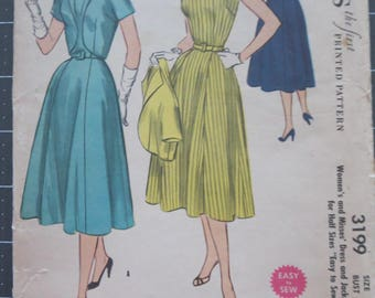 1950's McCall's 3199 Women's Misses Dress & Jacket sewing pattern size 18.5