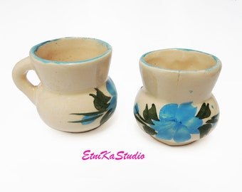 set of 2 Miniature CUPS, Mexican pottery flower design hand painted pitchers / cups, mini planters