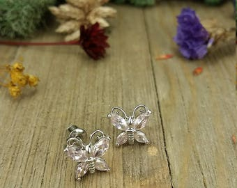 Vintage Silver Butterfly Pink Gemstone Earrings