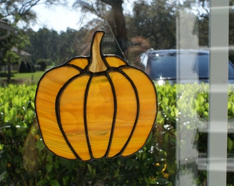 Pumpkin Suncatcher in Amber/Beige/Brown Wispy Transluscent Glass - Fall Decorations