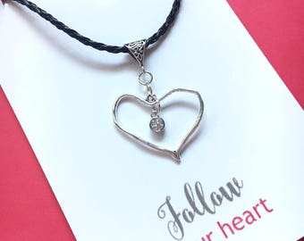Bohemian heart charm with diamond in the center distinctive necklace on a black leather cord you will love to keep by your heart - Hearts