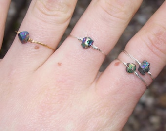 Dainty Titanium Quartz Ring (with Silver/Gold Plated Wire)