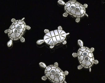 3D Pewter Turtle Beads Antiqued Silver Plated 24mm x 16mm - 5