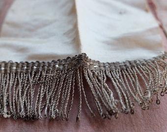 19th Century antique white silk ribbon with real silver tassle fringe passementerie , costume, mixed media, jewellery, home decor, tassle