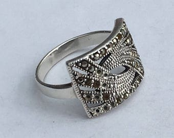 Art Deco Design Ring, Sterling Silver with Marcasites - US Size 7