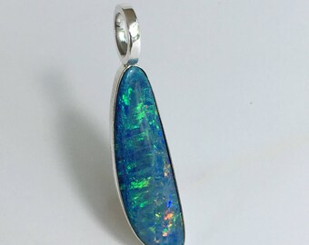 6.5ct Boulder Opal Pendant Quality Opal Doublet 925 Sterling Silver Pendant Green Yellow Orange Fire Free Shipping