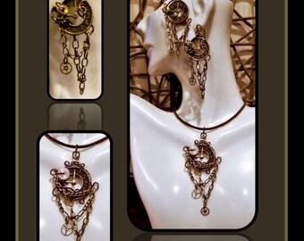 girlfriend gift,Steam punk,Steampunk Earrings,Steampunk Jewelry,Steampunk Necklace,Industrial,Cyberpunk,Sci Fi