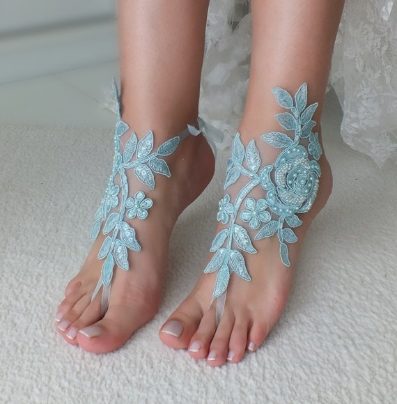 sandals blue lace something barefoot Wedding jewelry Bridal barefoot Bridal foot Beach sandals sandals anklet Wedding Gift wedding qY8WR0w