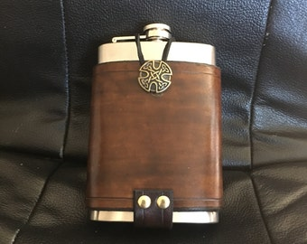Custom leather flask holder and flask