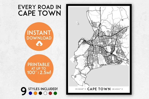 Cape town map print printable cape town map art south africa gumiabroncs Gallery