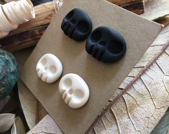 Ready-to-Ship, Handmade, Hand Sculpted, Halloween, Polymer Clay, White, Black, Kawaii, Skeleton, Skull, Stud Earring, 2 Pair Set