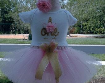 Unicorn Birthday Outfit,Pink and Gold unicorn birthday,one year old birthday outfit girl, 1st birthday  unicorn outfit,2nd birthday,3rd,4th