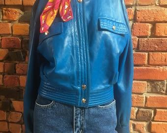 Electric Blue Vintage Leather Jacket Women's Size Medium Retro