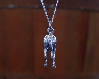 Horse Hip Back Side Horse Pendant Sterling Silver with Chain Horse Butt Jewelry,Equestrian Jewelry,Horse Pendant