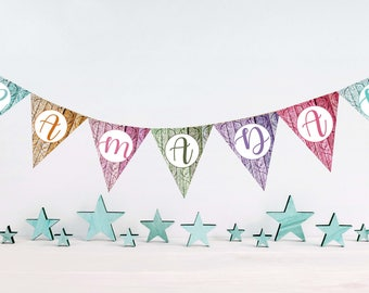 Ramadan paper bunting, Ramadan countdown decoration, Ramadan DIY decorations, Ramadan bunting, Ramadan garland, printable ramadan decoration