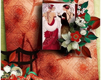 Art Deco Friends Greeting Card