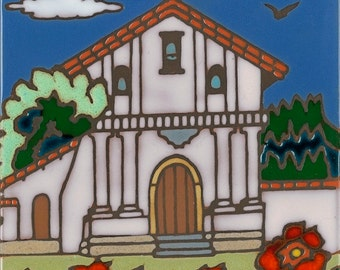 Mission Dolores California Mission Hand Painted Tile