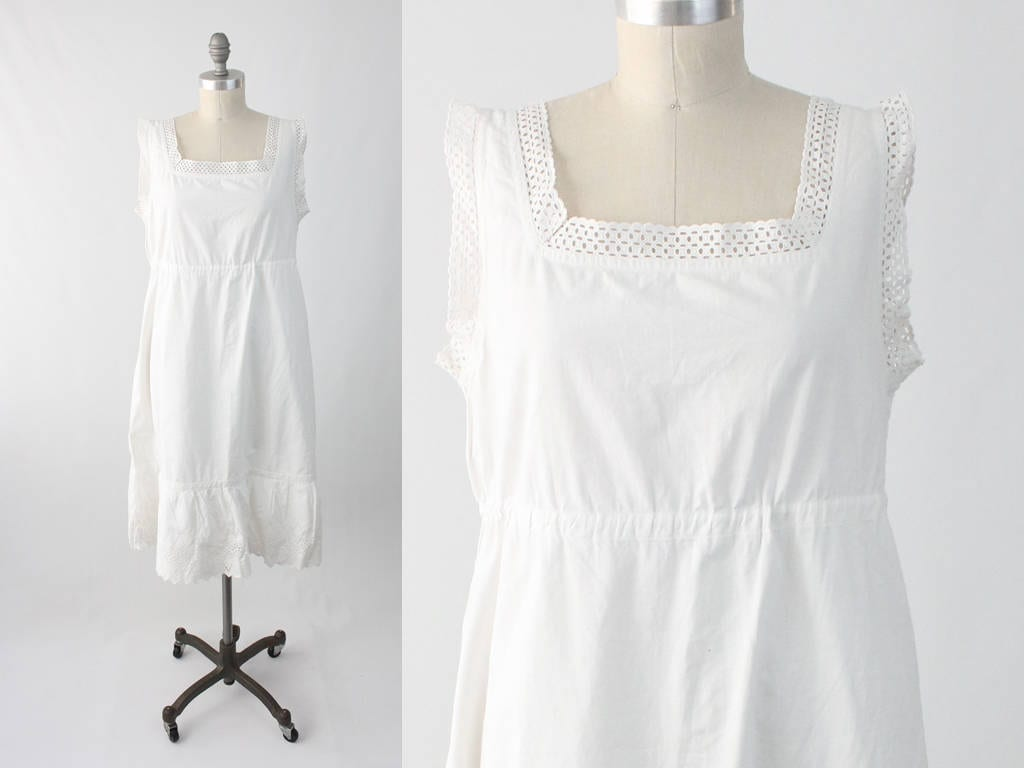 Antique Edwardian 1910 Chemise Dress White Linen Lace &