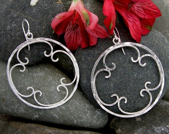 Hammered Silver Hoop Earrings, Large Hammered Silver Filigree Hoop Earrings, Silver Hoop Earrings, Two Inch Silver Hoops