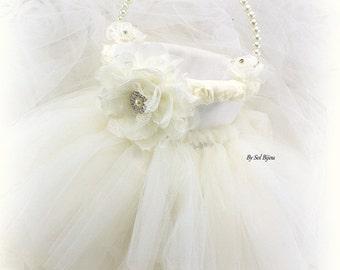 Flower Girl Basket, Ivory, Cream, Elegant Wedding, Vintage Style, Gatsby, Tutu Basket, Skirt, Satin, Lace, Tulle, Crystals, Pearls