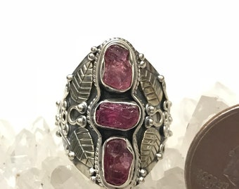 Rough Pink Tourmaline Ring Size 7 1/2
