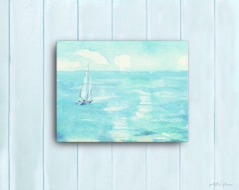 Watercolor Ocean Painting Abstract Canvas Print - Aqua Teal Blue Sea Coastal Beach Giclee Art Print - 8x10/11x14/12x16/16x20 - St. Tropez