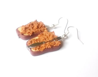 Toast Earrings Peanut Butter ( miniature food polymer clay food earrings breakfast earrings kawaii cute funny jewelry gift for girl )