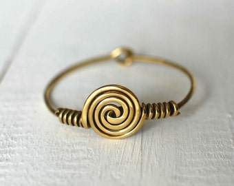Gold Bangle Bracelet,Brass Plated,Boho Chic,Swirl Bangle Bracelet,Antique Gold Cuff,Stackable Bracelet,Festival Jewelry,Gift