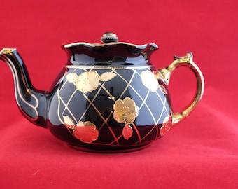 Vintage Black Teapot Arthur Wood English Teapot Black and Gold Tea Time  English Porcelain Teapot