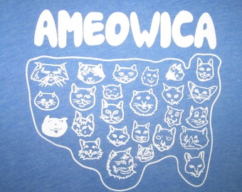 mens ameowica t shirt america cats USA tee merica murica 4th of july meow funny awesome cool united states red white and blue vintage new