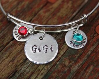 Hand Stamped Grandma Bracelet-Custom Bangle-Nana Bracelet-Personalized Grandmother's Bracelet-Great Grandma-GiGi Gift