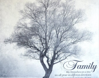 Shabby Chic Family Tree Artwork Like Branches on a Tree We all Grow in Different Directions -- Home Decor Can be Personalized - Made in USA