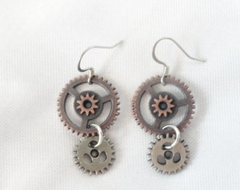 Steampunk  Earrings Copper Gears