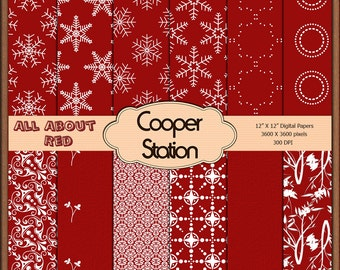 Digital Printable Scrapbook Papers in Red